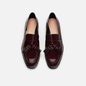 Zara Oxblood Burgundy Patent Tassel Stud Loafers